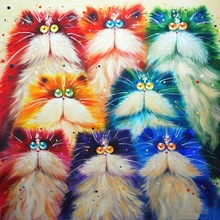 Newest Colorful Cat Diamond Painting Cros Rhinestones Mos Stitch 3D  Embroidery Patternsaic Cartoon Animals Picture zx