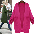 European Women's fashion Autumn Winter long knitted Cardigan Wool Sweater coat thick loose big yards Outwear F134