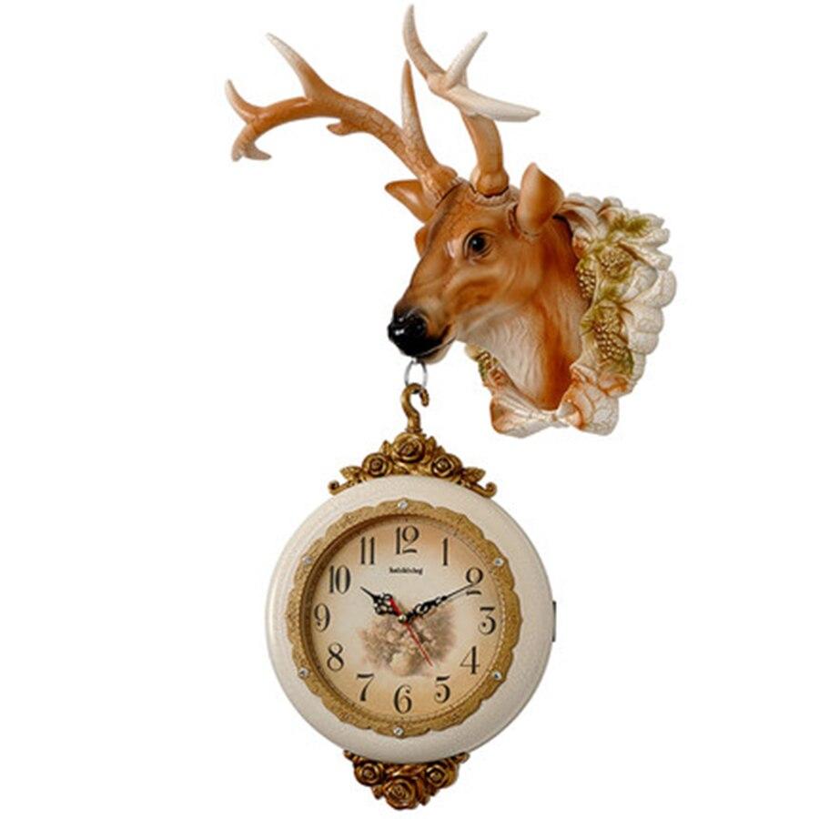 European Retro Double Sided Wall Saatk Deer Head Design Deco Salon Nixie Watch