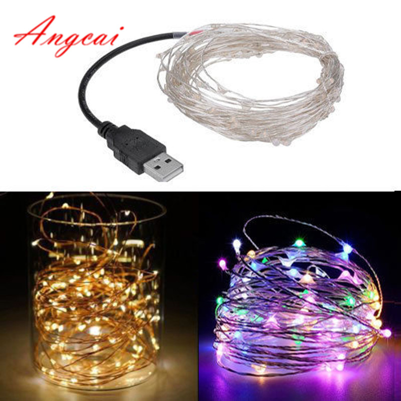 USB DC5V LED Tiny String Lights 5M 10M 33Ft Silver Copper Wire Fairy Lamp,Party Wedding Kids Room Decor,novelty Lighting