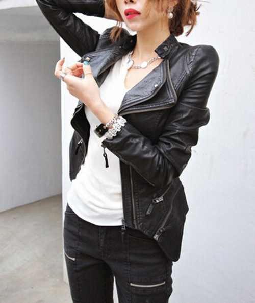 Leather jacket with shoulder pads