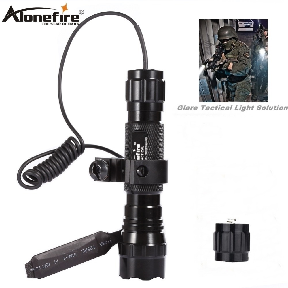 Alonefire LED Tactical Gun Linterna 501B XML-T6 Linterna antorcha Carril 20mm Airsoft Rifle Scope Mount Shot Gun Light 18650 batería