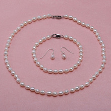 7270fc774c2 Jyx conjunto de jóias para as mulheres 5-6mm branco em forma de arroz  natural colar de pérolas de água doce