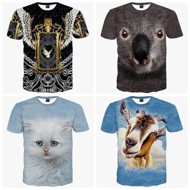 Alta calidad big boy de manga corta 3d animal print tridimensional patrón camiseta del muchacho ropa de la camiseta 14-20 años de edad