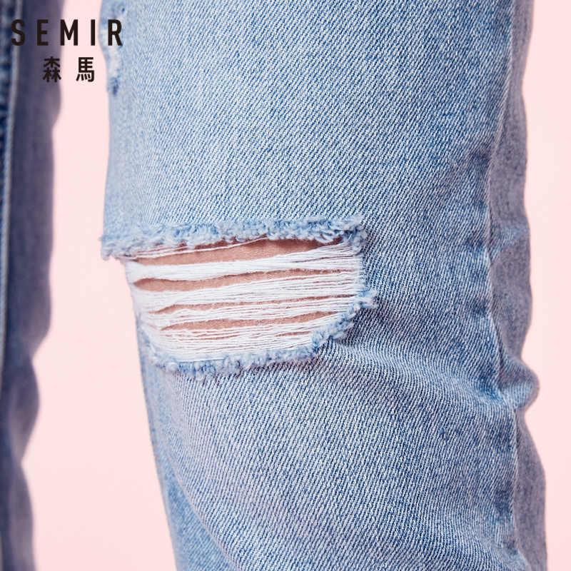 سيمير جينز نسائي 100% قطني مقصوص بحاشية خام ريترو ستايل جينز نسائي ضيق مناسب للكاحل مغسول دنيم مع دمار