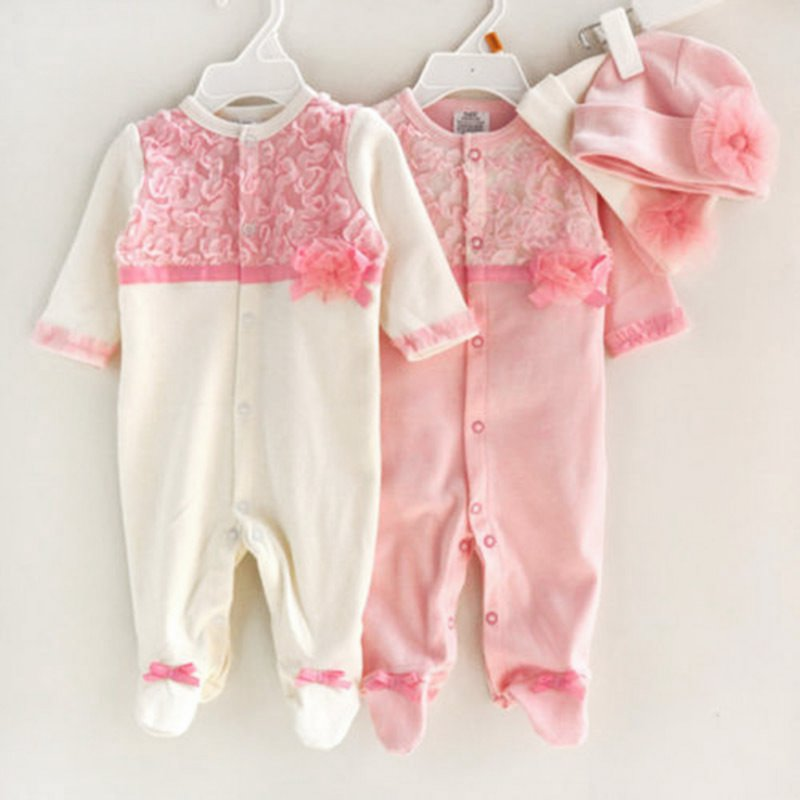 2017 NEW Princess Style Sweat Baby Girl Clothes Floral Lace Rompers+Hats Sets Infant Bodysuit