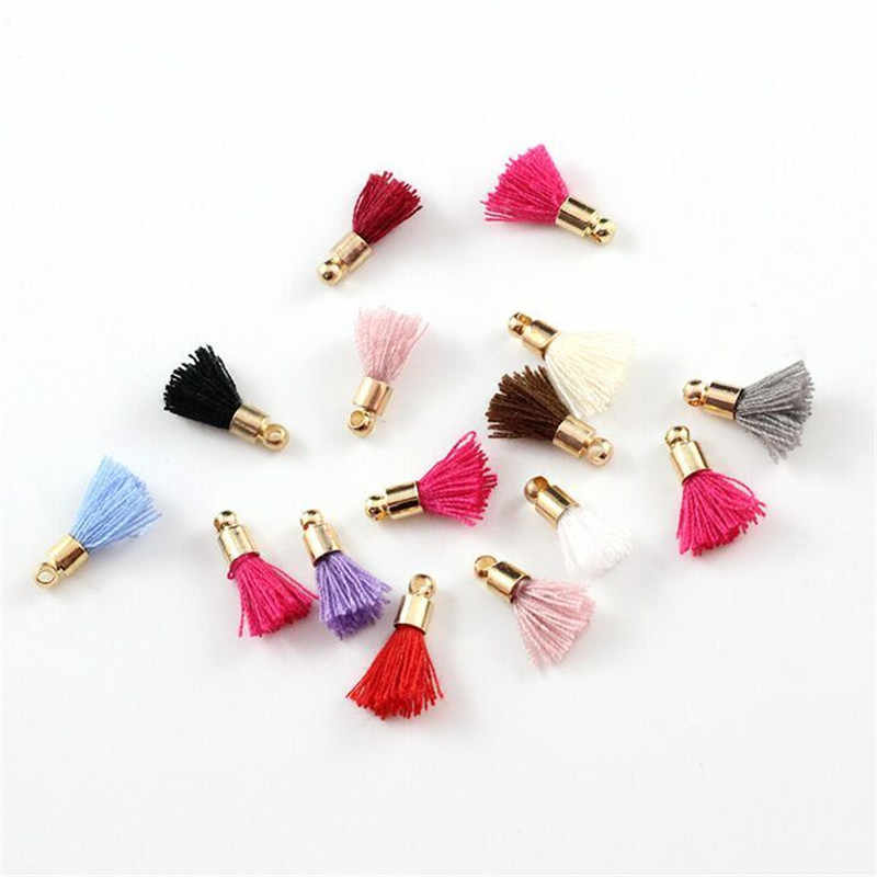 20pcs/lot wholesale 15mm small cotton Tassels with gold caps Charms Pendant silk mini tassels for Findings jewelry making DIY