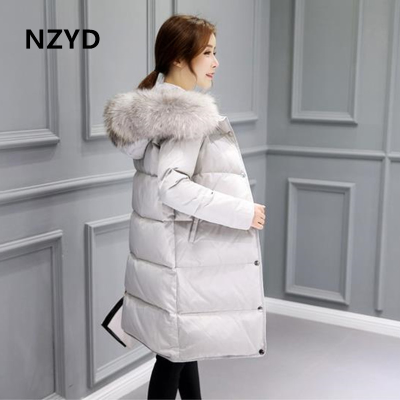 NZYD winter women long coat parkas thickening Female Warm Clothes Rabbit fur collar High Big yards Cotton-padded clothes B080 2017 winter new clothes to overcome the coat of women in the long reed rabbit hair fur fur coat fox raccoon fur collar