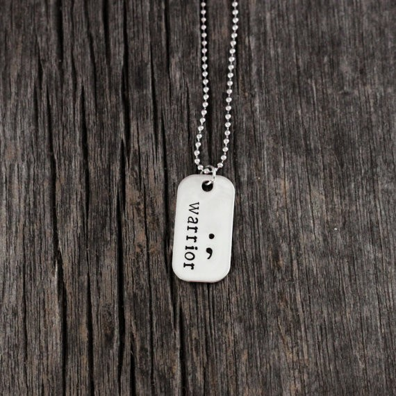 Semicolon Dog Tag Pendant Necklace,Hand Stamped Jewelry,  Warrior silver plated Necklace gift YLQ0101