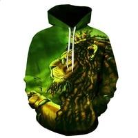 BIANYILONG 2018 NEW Hoodies Man Sweatshirts Men Women 3d Sweatshirt Glasses Lion Print Watercolor Blocks Lion