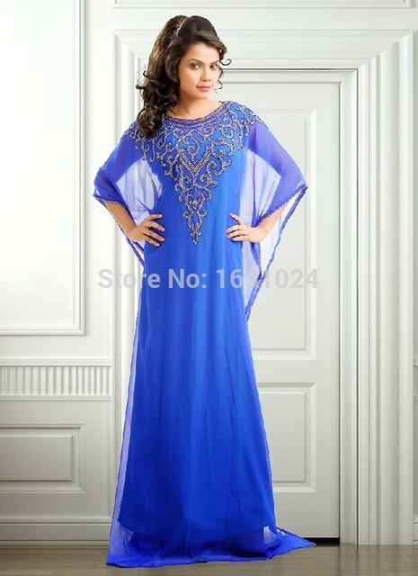 Topcustom Made Blue Arabic Style Evening Dresses Chiffon Floor