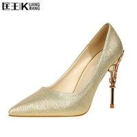 Women Pumps Heels Sexy High Heels Shoes Women Wedding Shoes Pumps 2017 Ladies Shoes Gold Silver