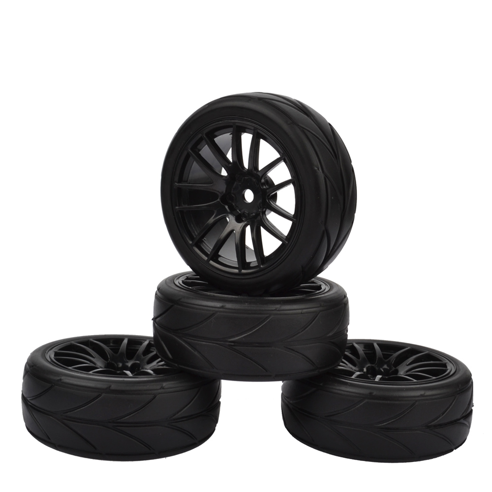 4Pcs RC 1:10 On-road Car Tire & Wheel Rims for HSP HPI RC 1:10 Flat Racing On Road Car (black)