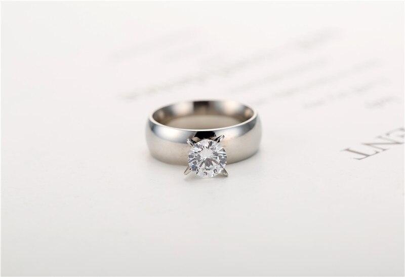 6MM Large Zircon CZ zircon gold plated 316L Stainless Steel wedding finger rings men women jewelry wholesale lots