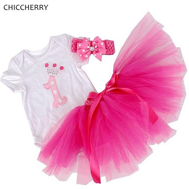 Coroa de Aniversário 1 Ano Bebê Rendas Tutu Criança Bebe Bodysuit conjunto com Saia de Renda Headband Nacido Recien Roupa Do Bebê Da Menina roupas