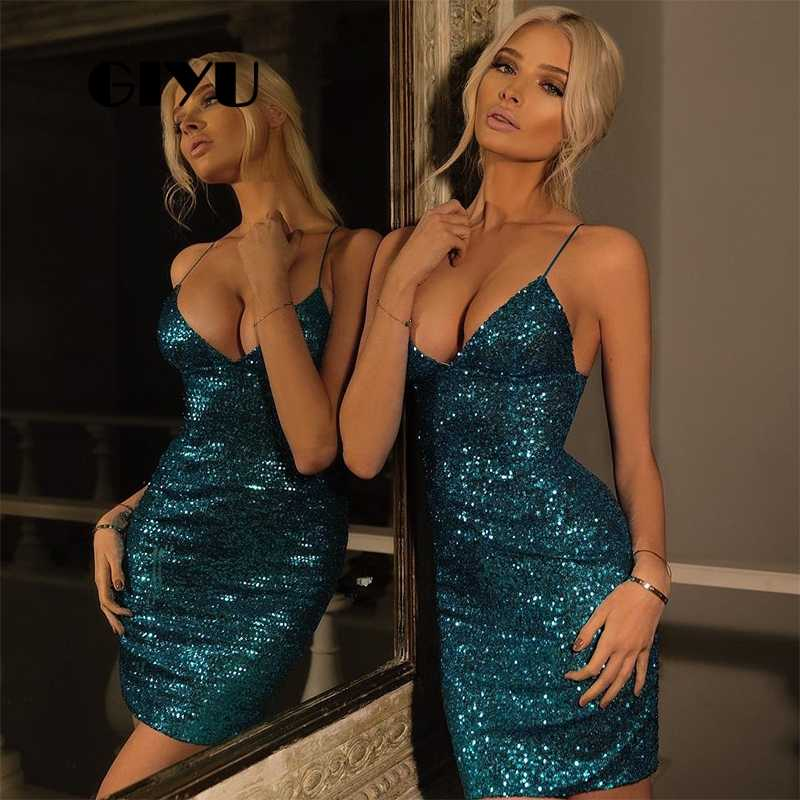 GIYU Sexy Night Club Women Short Dress Sequins Bodycon Dresses Slim Vestido Lady Empire Skinny Party Night Shining ropa mujer