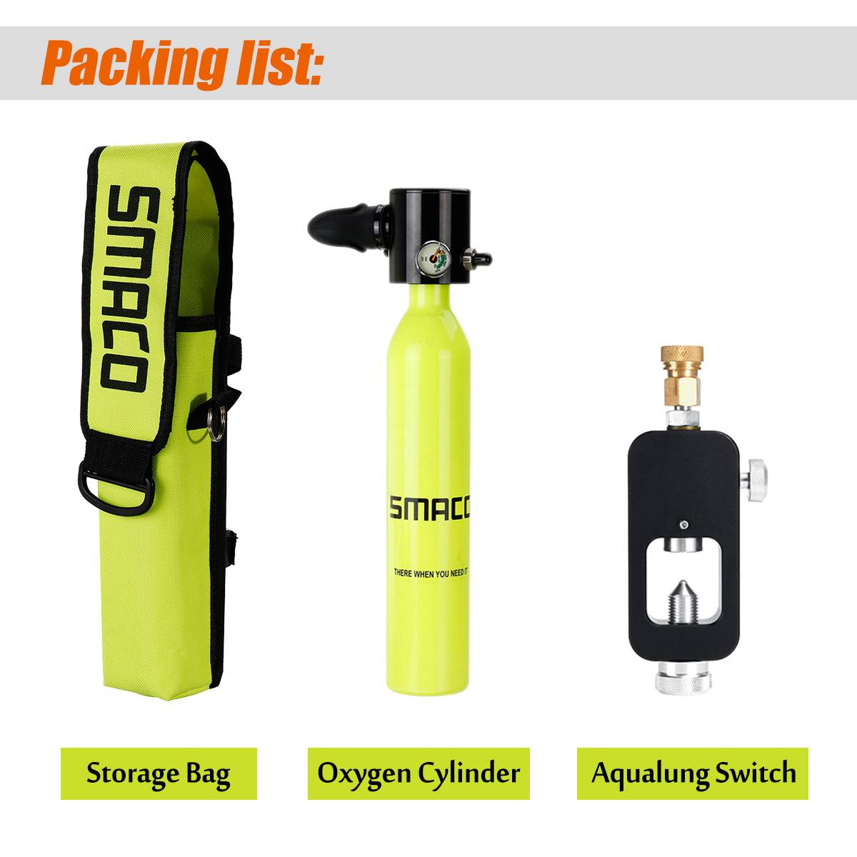 4-in-1 500mL Smaco Mini Scuba Diving Equipment Portable Oxygen Cylinder  Backup Air Oxygen Tank With Aqualung Rotary Union Set