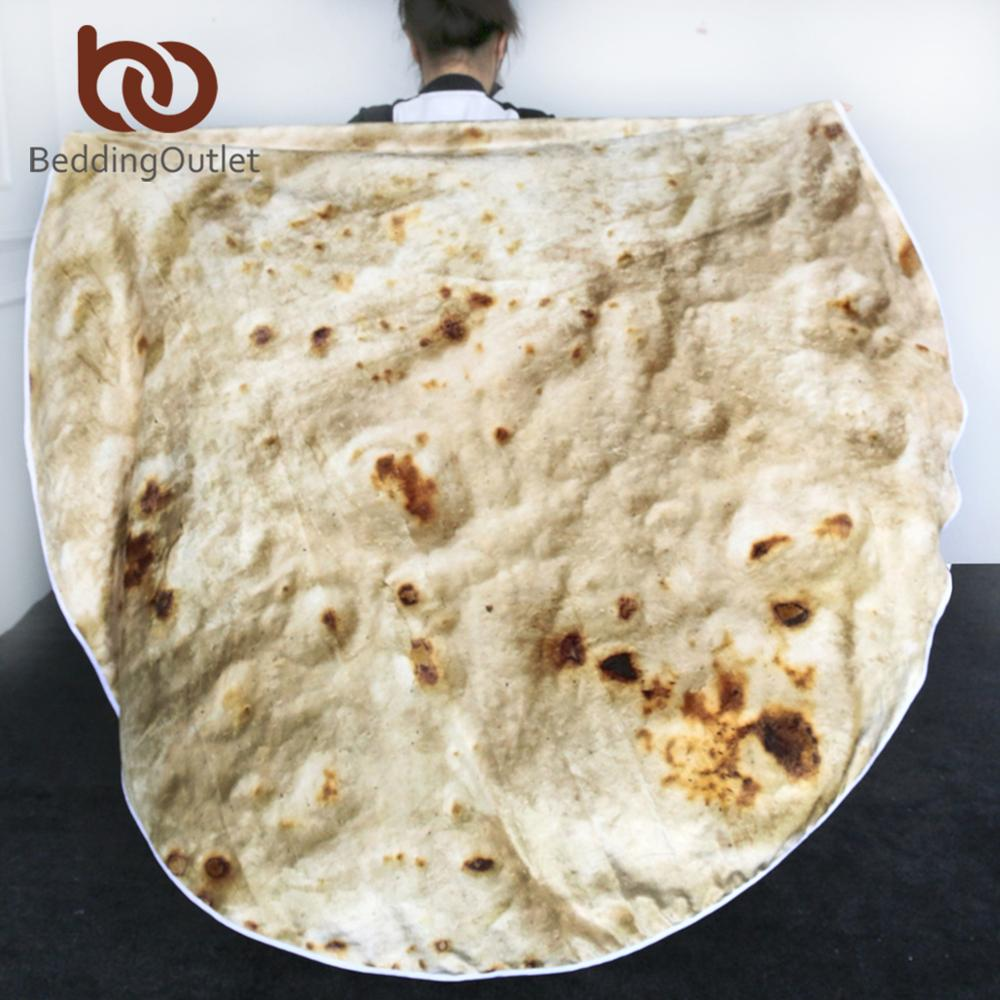 BeddingOutlet Corn Tortilla Blanket Pita Lavash Throw Blanket Flannel Fleece Sofa Plaid Funny Food Plush Bedspread Manta Burrito