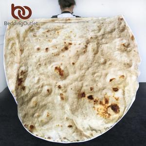 BeddingOutlet Corn Tortilla Blanket Pita Lavash Throw Blanket Flannel Fleece Sofa Plaid Funny Food Plush Bedspread manta Burrito(China)