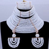 Newest Dubai Jewellery Gold White Necklace Set 18 Layers African Bridal Beads Wedding Jewelry Sets Free Shipping 2018 Crystal