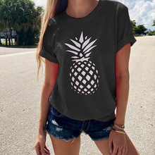 pineapple print shirt womens shirts punk korean clothes streetwear o-neck casual clothing plus size graphic tees 2019