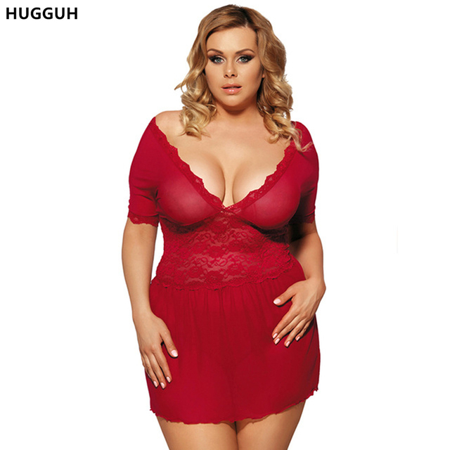 M XL 3XL 5XL Large Size Women Sexy Lingerie Girls Pajamas Summer Style Sleeveless Red Lace Dress Sexy Nightgown 161612R70335P
