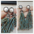 charms jewelry multi colors shinning glass stone beads tassel natural pearl stud tassel long drop dangle earring for women