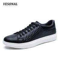 VESONAL Brand High Quality PU Flats Men Shoes Fashion Weaving Embossing Breathable Mens Shoes Casual Designer Black SD7086