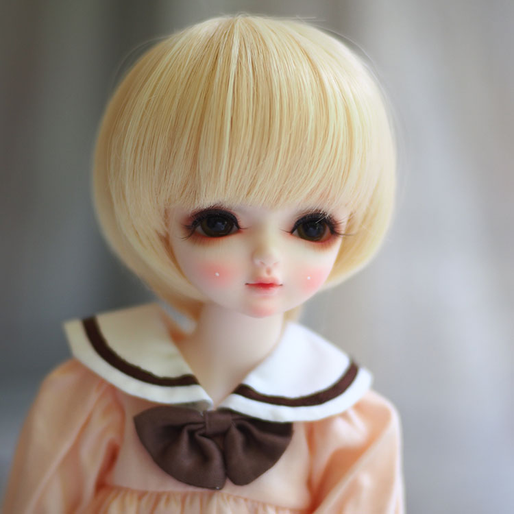 Newest Style 1/3 1/4 1/6 Bjd Wig High Temperature LOVELY Blonde Colors Short Straight Doll Wig SD BJD hair Wire