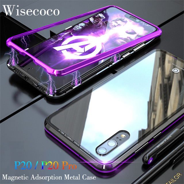 buy popular a66e8 8c85e US $15.98 |Magnetic Adsorption Metal Phone Case For huawei p20 pro coque  Luxury Ultra Magnet Tempered Glass back Cover For huawei p20pro-in Fitted  ...