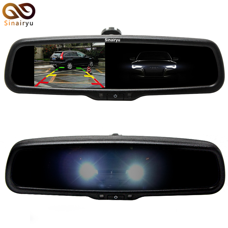 4.3 Auto Dimming Anti Glare Rearview Mirror Monitor with Original Bracket 2CH Video Input For Parking Monitor Assistance glare 30
