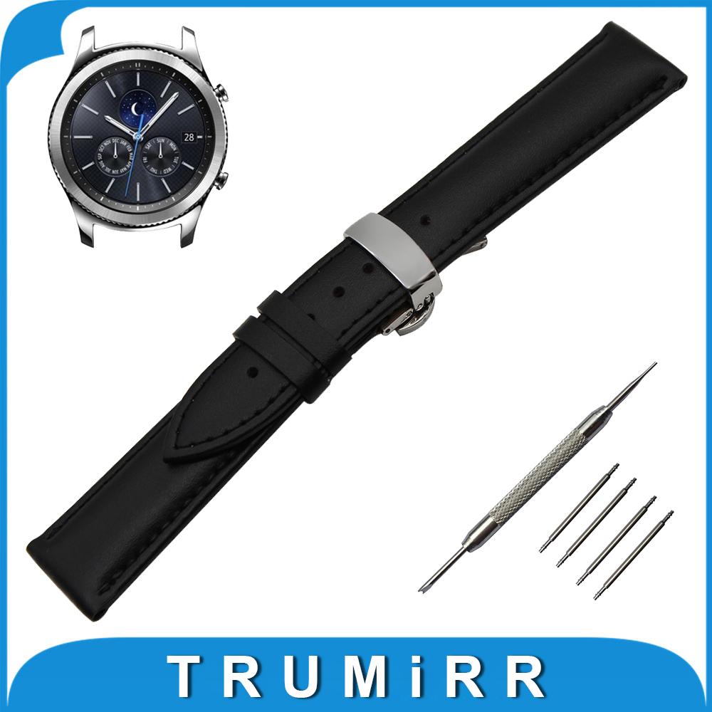 Prix pour 22mm Véritable Bande de Montre En Cuir pour Samsung Gear S3 Classique/Frontière Butterfly Boucle Courroie de Poignet Bracelet Noir Brun