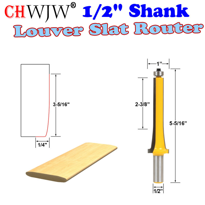 1 Pc 1/2 Shank Louver Slat Router Bit - Large Wood Cutting Tool woodworking router bits- Chwjw 18152 1pc 1 4 shank high quality roman ogee edging and molding router bit wood cutting tool woodworking router bits chwjw 13180q