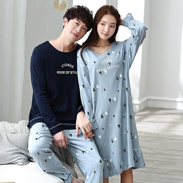 a4a78a9dbd Hot Sale Cotton Couple Pajamas Set Autumn Men Long Sleeve Pyjamas Lovers Sleepwear  Plus Size 3XL Women Nightdress Home Clothing