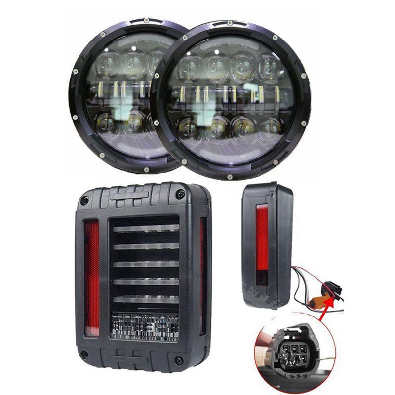 Для 07 15 Wrangler JK 80 Вт LED drl проектор Фары для автомобиля с светодиодные задние фонари задний тормоз заднего хода
