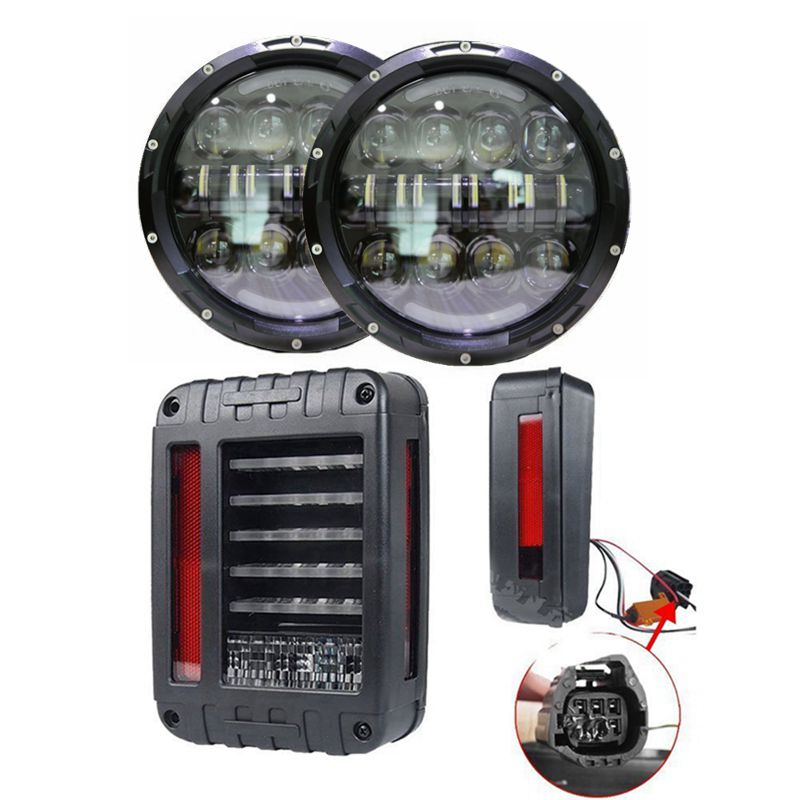 For 07 15 Wrangler JK 80W LED DRL Projector Headlights with LED Tail Lights Rear Brake Reverse Lamp