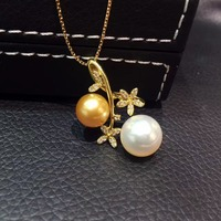Natural морской воды жемчужина двойной Кулон Жемчужный 18 К золота с бриллиантами золотой жемчуг и белый жемчуг смешанные цветок кулон изысканн