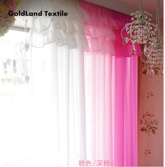 Korean lace style finished solid screens  Living room bedroom soft voile window curtain (only 1 panel)