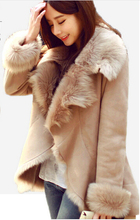 2015 new fashion autumn/winter women's casual  faux fur coat camel short warm leather jacket for lady