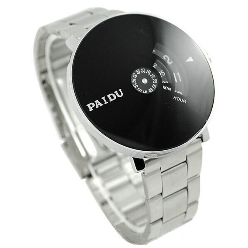 Stainless Silver Band PAIDU Quartz Wrist Watch Black Turntable Dial Mens Gift