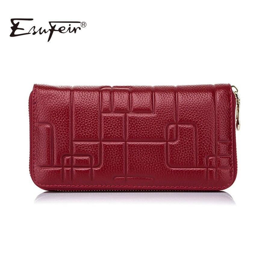 2018 ESUFEIR Brand Genuine Leather Women Wallet Standard Wallet Long Clutch Fashion Multiple Cards Holder Leather Women Purse