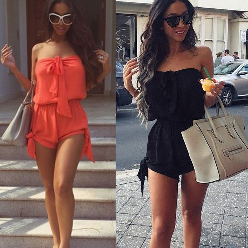 Summer Women Sexy Jumpsuit Off Shoulder Lace-up Sleeveless Elastic Solid Color Casual Short Romper TY53