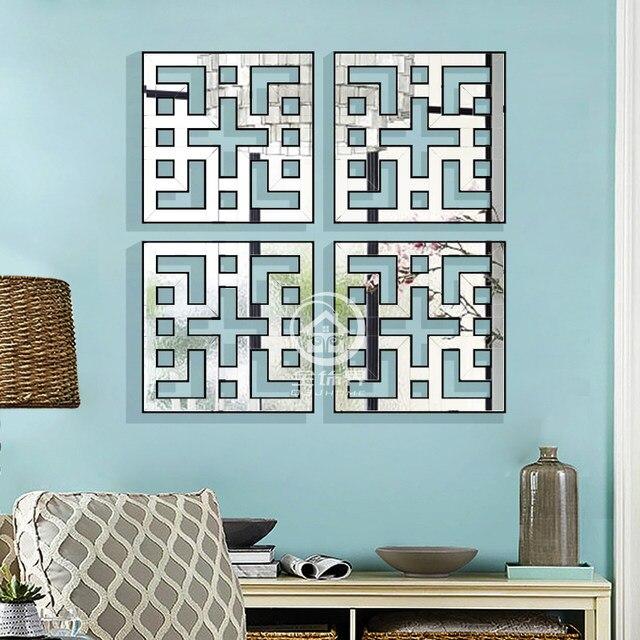 Mirrored Wall Decor Fretwork Square Mirror Framed Art D F1308