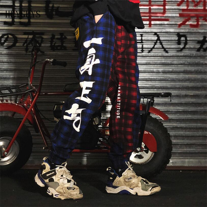 2019 NEW Fashion Harajuku Plaid Joggers Pants Men Hip Hop Chinese Characters Elastic Waist Harem Trousers Streetwear Mens Pant