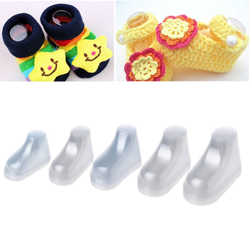 10Pcs Clear Plastic PVC Baby Feet Display Baby Booties Shoes Socks Showcase Decoration