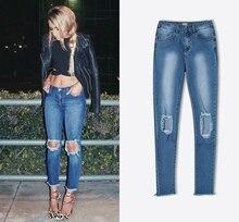 2017 Новых женщин отверстия нерегулярные отверстия кисточкой джинсы женские случайные высокой талии Тонкий стрейч ковбойские брюки Джинсы для Женщин