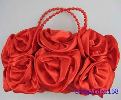 5pcs/lot Hot sale Noble Bridal Satin Rose Clutch Handbag Wedding Party Outfit Bag women's Accessories Mixed colors free shipping