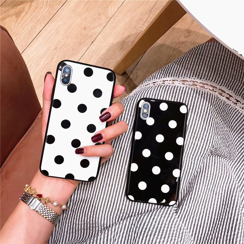 Black White Polka 점 강화 (gorilla Glass) 케이스 대 한 <font><b>iPhone</b></font> <font><b>X</b></font> <font><b>XS</b></font> Max XR Hard Capa 펀다 대 한 <font><b>iPhone</b></font> 8 7 6 S Plus Love Heart Cover <font><b>Hoesje</b></font> image