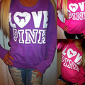 Fashion New Autumn and Winter Hooded Long Sleeve Letter Love Pink Print Patchwork Women Hoodie
