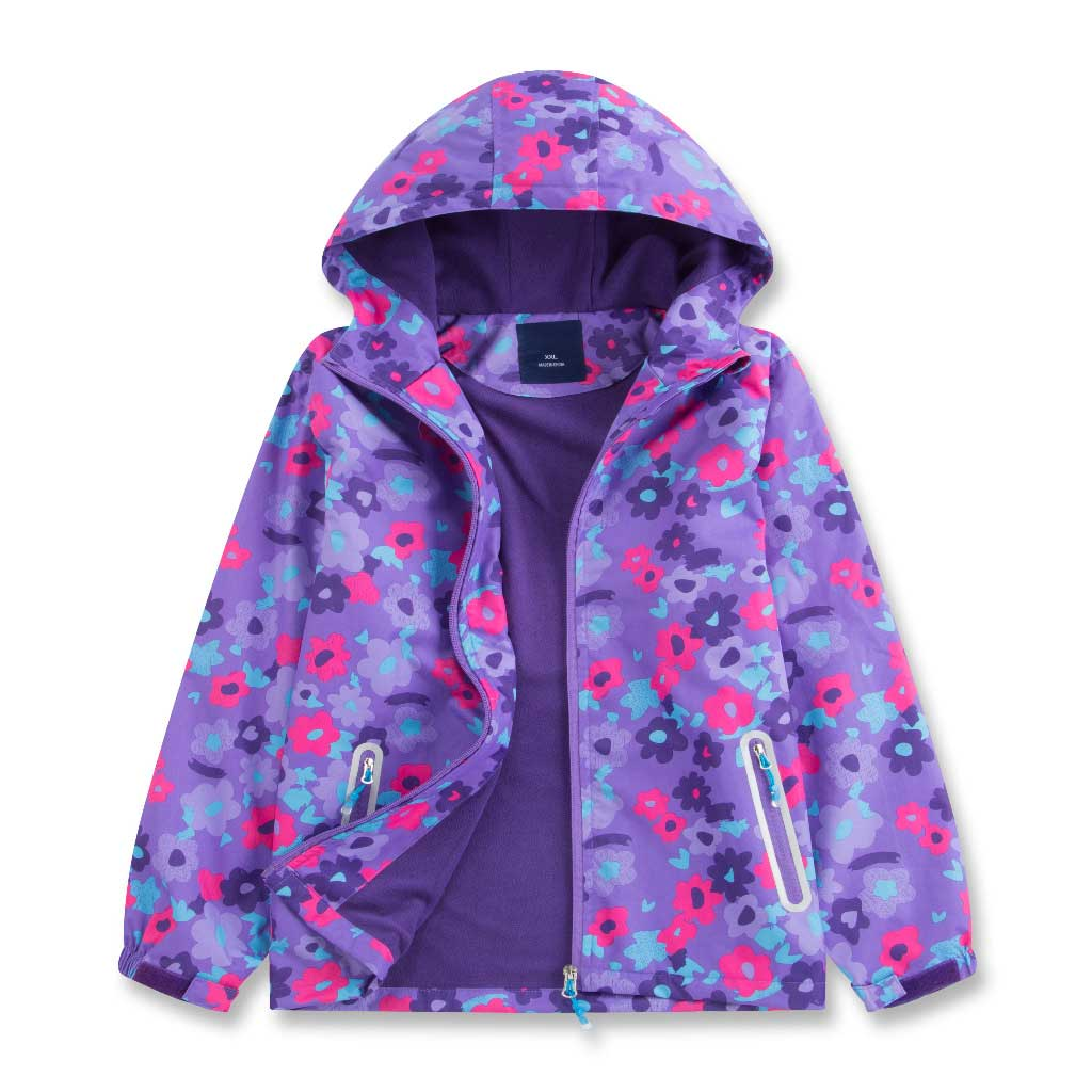 Sports Casual Hooded Coat Girls Bright Color Spring Autumn Jacket Waterproof Outdoor Children's Clothing Fleece Warm Outerwear